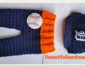 Baby Boy Baseball outfit,Baseball Cap & Diaper cover set Baseball Team Detroit Tigers hat --Coming Home Outfit-- crochet baby shower gift