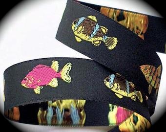 "Fish  Woven Jacquard Ribbon 7/8"" -Black, Pink, Yellow, Orange and Blue"