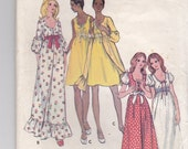 ON SALE Reserved for Ana Diogo -1970s Butterick No 6205 Sewing Pattern Misses  Nightgown, Robe  Size 12 Bust 34 inches. Cut, Complete