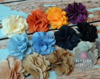 The Autumn Collection - Burlap Puff Flowers - You Pick Colors - 3 Inches - DIY Headbands - Wedding Supplies - Rustic Fall Autumn Country