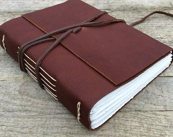 Leather journal /  Do Not Go Where the Path May Lead // Emerson quote // rustic journal, sketchbook // handmade by moon and hare