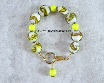 Handmade yellow, and gold lampwork glass beaded bracelet with neon yellow Swarovski pearls, ready to ship, gifts for women, free gift wrap