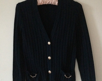 Vintage Celine cardigan in navy wool