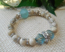 Bohemian Stretch African Opal Bracelet ~ Pale Blue African Recycled Glass ~ Rhinestone Layering Luxe Glam Bohemian Jewelry