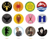 """Game of Thrones 1"""" Sigil & Character button"""