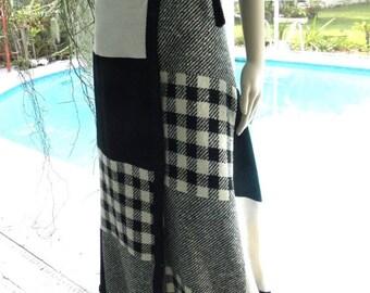 60% OFF 60's Glen of Michigan Black & White Patchwork Wrap Maxi Skirt, sz S