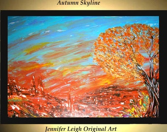 Original Large Abstract Painting Modern Acrylic Painting Oil Painting Canvas Art AUTUMN SKYLINE Blue Gold 36x24 Textured Wall Art  J.LEIGH