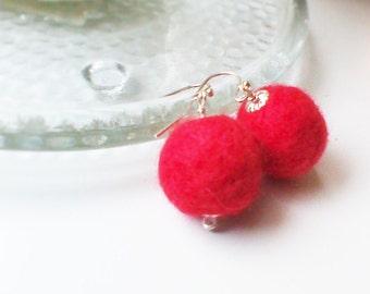 Red Earrings Red Felt Jewelry Felt Ball Earrings BOHO Eco Friendly Red Earrings Wool Felt Felted Earrings
