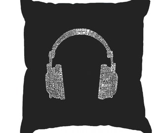 Throw Pillow Cover - Word Art - 63 Different Genres Of Music