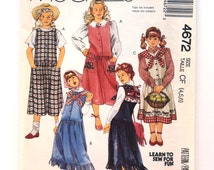 Sewing Pattern - Uncut - Girl's Jumper - 90's Jumper with Collar Pattern - McCall's 4672 - Size 4, 5, 6 - Girl's Vintage Pattern - 1990