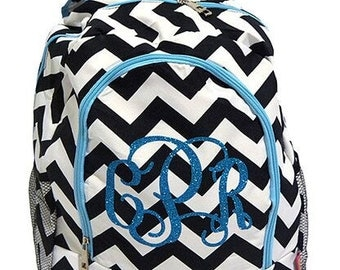 black chevron Personalized Monogram Glitter Backpack