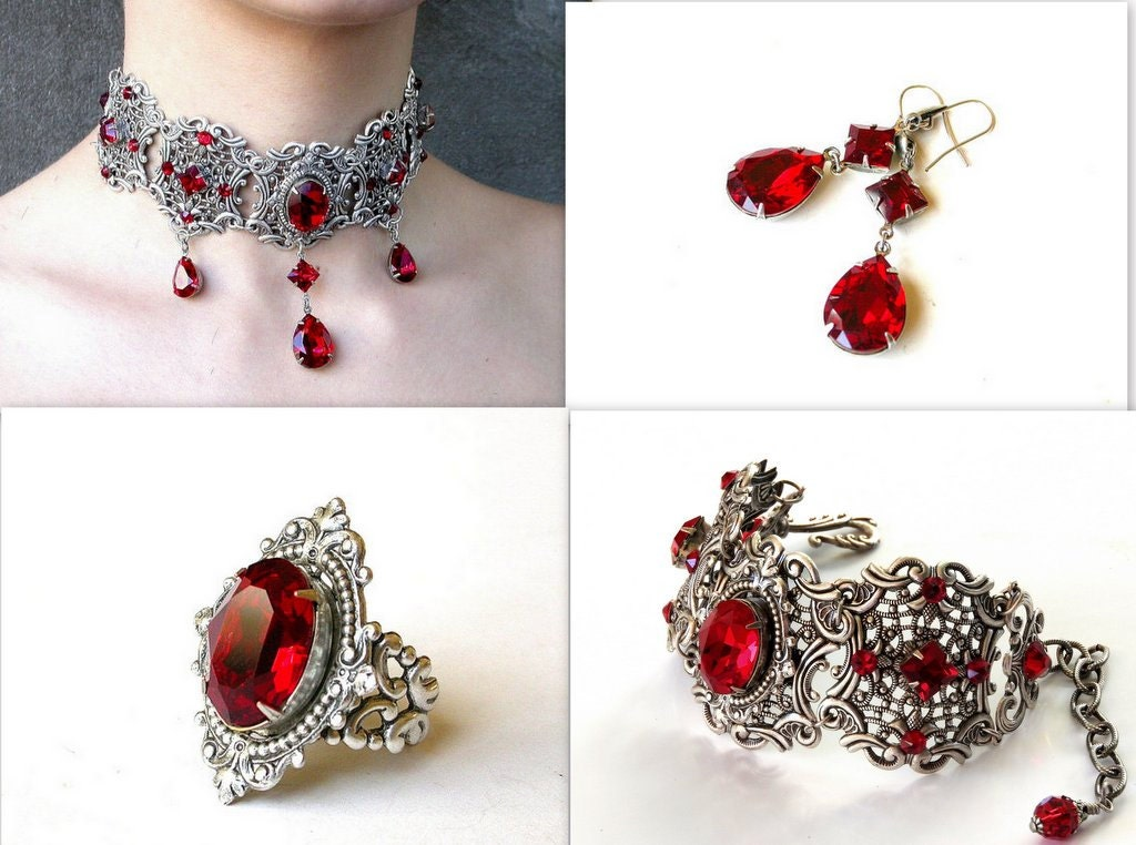rote gothic schmuck set rot swarovski collier armband ohrringe. Black Bedroom Furniture Sets. Home Design Ideas