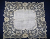 Lace Wedding Handkerchief Exquisite Antique Hankie Embroidered Net Lace Edged White Linen Vintage Hanky Heirloom Keepsake for the Bride