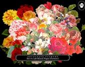 Diecut Shape - Die Cut Decoupage Flowers Set #1 - 28 Mixed Paper Flowers, roses clipart floral, pink rose clipart, bouquet clipart