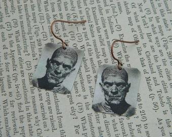 The Mummy earrings Halloween  jewelry mixed media jewelry