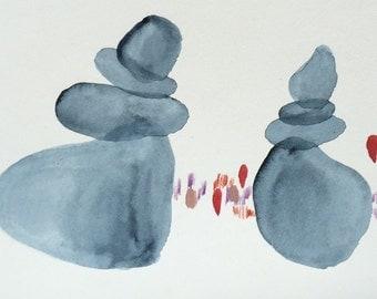 Rock cairns watercolor painting minimalist art
