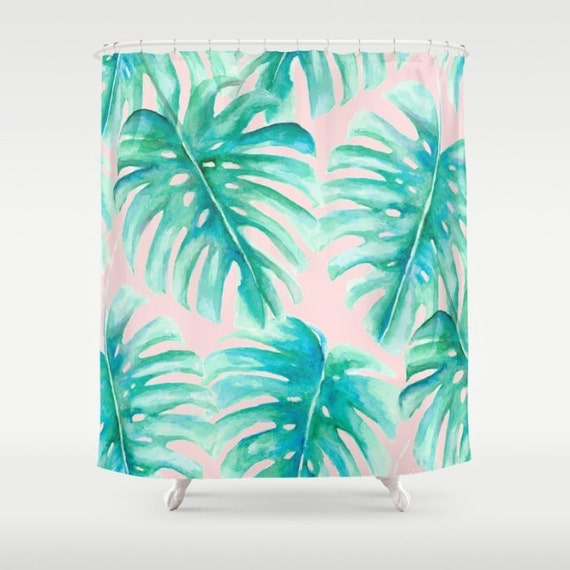 Pink And Green Palm Leaf Shower Curtain Monstera Pattern