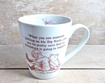 Bear and Piglet Mug, Love, Quote Mug, Tea and Honey Coffee Cup, Get Well Soon, Best Friends, Big boots adventure, Caretaker Tea Cup