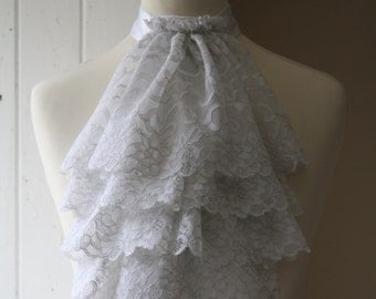 White with silver thread lace jabot FREE UK SHIPPING