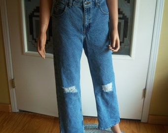 Upcycled Old Navy Jeans, High Waisted Grunge Denim Jeans, Xtra Loose, Girl Size 16, Ripped Blue Jeans, Back To School, Fashion Jeans