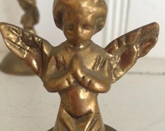 Vintage Angel Candle Holder Set Praying Angel Set Copper And Brass
