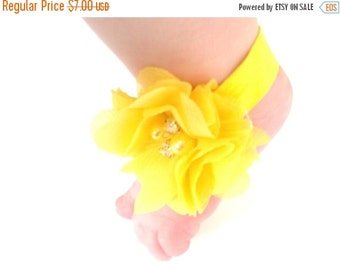 CHRISTMAS In JULY SALE Yellow Baby Barefoot Sandals - Baby Photo Prop