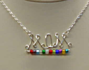 Mom Wire Written necklace silver plated with birthstones