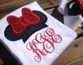 Custom for Rachel Fancy Minnie Mouse EARS monogram CUSTOM Applique SHIRT Personalized boutique girls hairbow