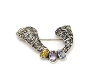 Celtic Brooch or Pendant, Sterling Silver, Amethyst, Citrine, Blue Topaz, 1960s Vintage Jewelry, VALENTINE SALE