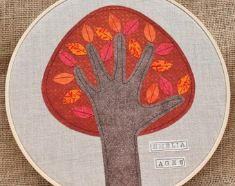 PERSONALIZED grandparents gift, Child's Handprint Art, Handprint Tree, Embroidery Hoop Art, 10 inches, Fall/Autumn