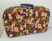 Vintage Child's Floral Suitcase with Key