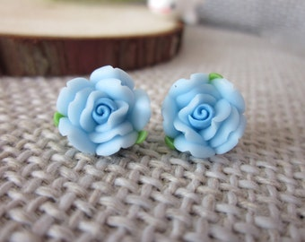 20 pcs 12mm blue Polymer Clay Flower Beads, FIMO rose Pendant, Charm craft jewelry, wedding,Necklaces Earrings Bracelet Accessories-39