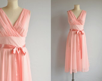 Vintage 1950s Nightgown / 50s Sheer Pink Chiffon Negligee Lingerie Nightie