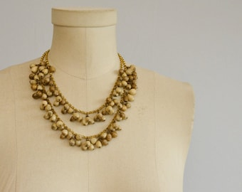 Vintage Wood Bead Necklace / 50s Double Strand Brass and Seed Pod Jewelry