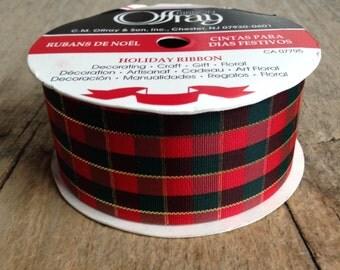 1 Roll, 2.74m, Plaid Ribbon, Vintage Christmas Ribbon, Holiday Ribbon, Christmas Decor, Offray Ribbon, Craft Supplies, Christmas Supplies