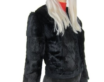 EVERAY 70s Black Cropped Fur Coat
