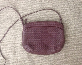 Vintage Ganson leather maroon weave purse with front pocket