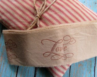 LOVE Hand Stamped Tea Dyed Muslin Trim, Vintage Inspired, Hand Frayed, Hand Stamped, Embellishment