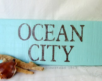 Ocean City Wood Sign, Reclaimed Wood Sign, Beach Decor, Maryland Beach, Beach Cottage, Coastal, Eastern Shore, Beach Sign, Distressed
