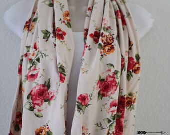 Vintage Floral Pink Flowers on Cream Background Knit Infinity Scarf, Triangle Design, Loop Scarf, Long Wrap Around Scarf