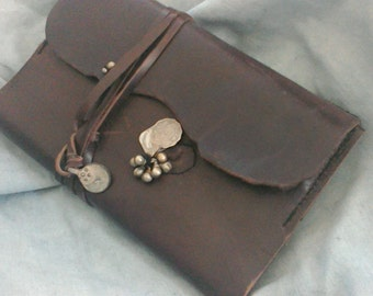 Refillable journal Italien leather steampunk raw edges brown boho kushi