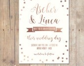 Confetti Calligraphy Rose Gold Wedding Invitation Invite Card 5x7 Professionally printed cards or Printable