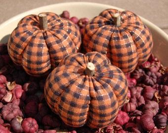 Primitive Halloween Orange & Black with Copper Metallic Homespun Pumpkin Ornies