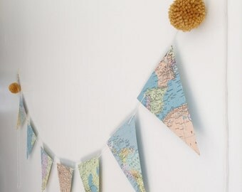 Vintage Atlas Banner. Vintage Map Garland with Gold Poms. Map Decor. Vintage Map Bunting.