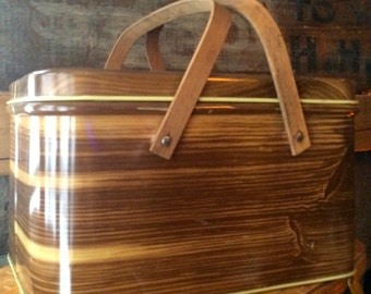 Vintage Metal Picnic Tin, Faux Wood with Wooden Handle