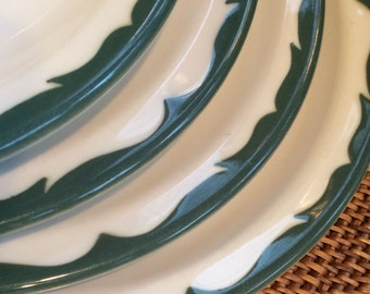 Large Dinner Plate, Green Wave Airbrushed Border, Normandy by Mayer China ca. 1964