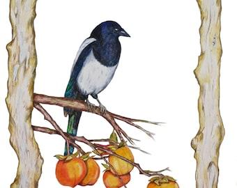 Limited edition (10) Magpie on a Persimmon Branch, Feng Shui Symbol Nest Home Career Love, Korea National Bird, Bird Art, Bird Print