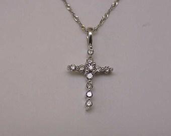 Antique Victorian Unique 14k White gold .50carats Diamond Cross pendant , 1880s