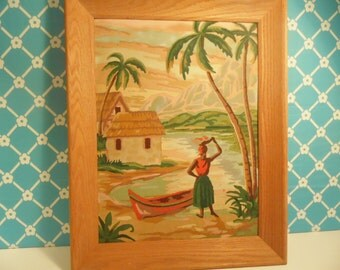 Vintage Paint By Numbers Tropical Island Painting Wood Frame 1960s
