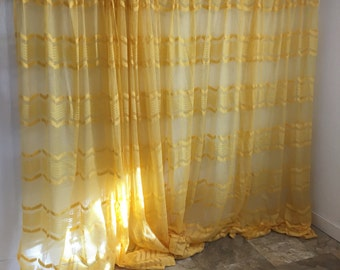 Vintage Curtains, Sheer Yellow Curtains, Vintage long Yellow drapes, Net Curtains, Mesh Curtains, 4 Piece Curtains